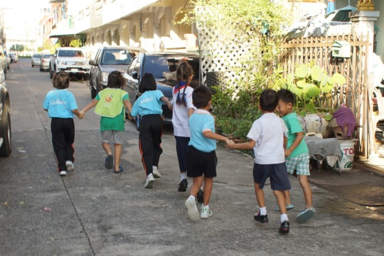 Some of the kids on their way to school