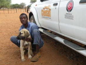 Farmer with new puppy