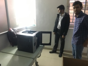 Our new 3D printer being installed