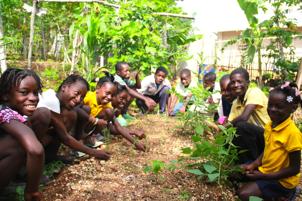 Students in their school garden in Gransous.