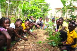 Students in their school garden in Gransous.