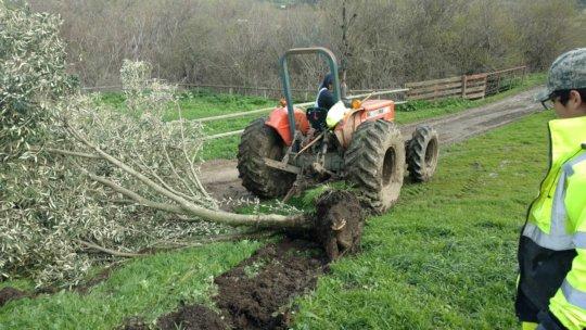 Repairing wind and rain damage at Lompoc
