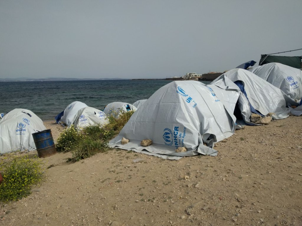 Tents in Chios, Greece