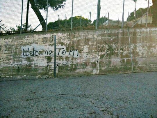 Graffiti on the wall at Moria