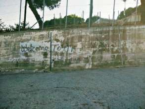 Graffiti on the wall at Moria