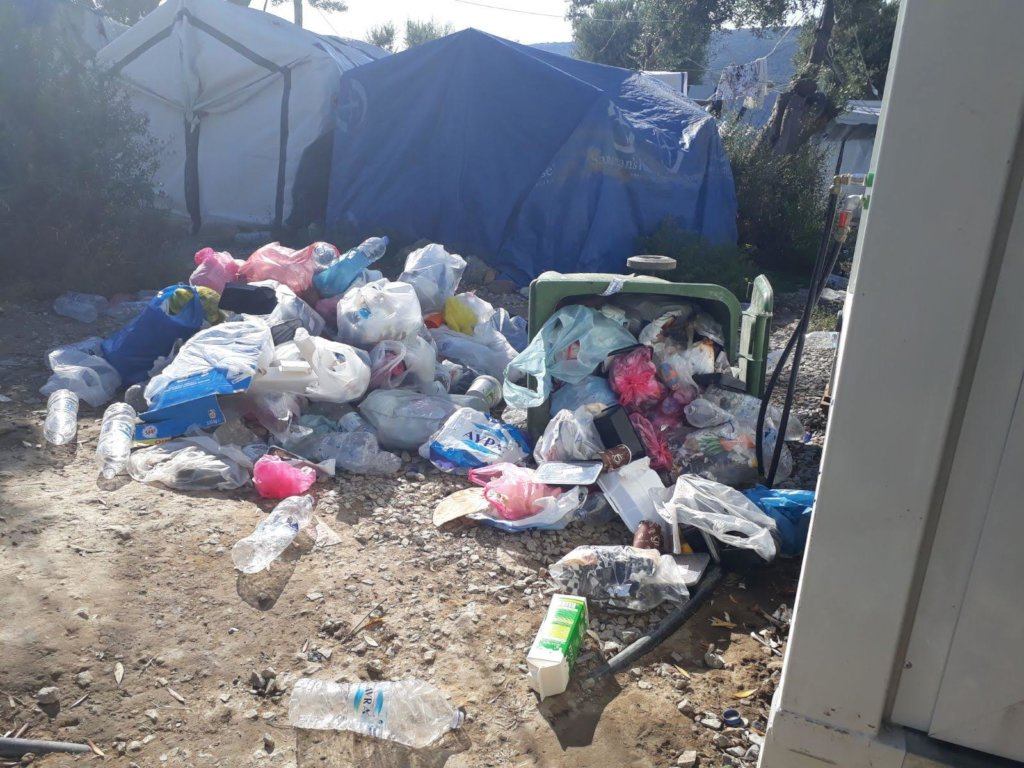 Overflowing rubbish bins on Lesvos