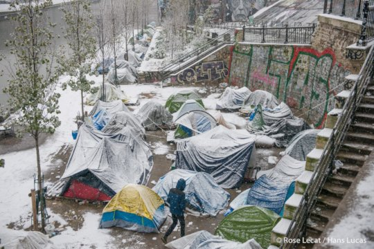Snowy tents in Paris