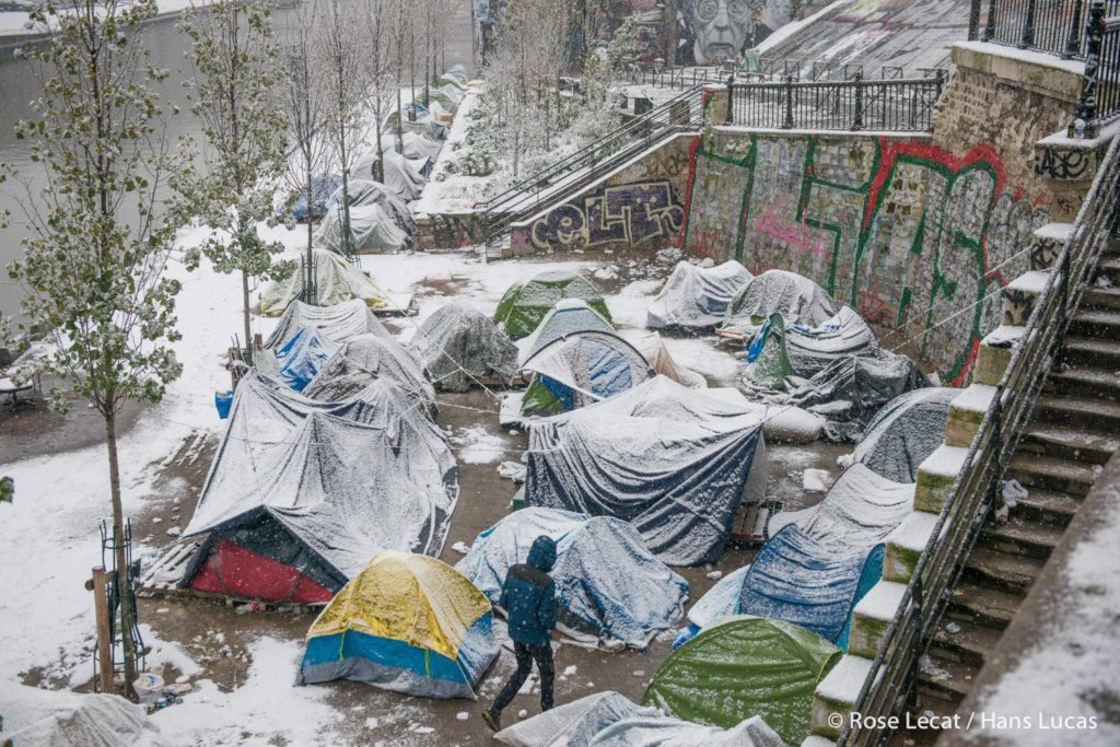 Snowy tents in Paris