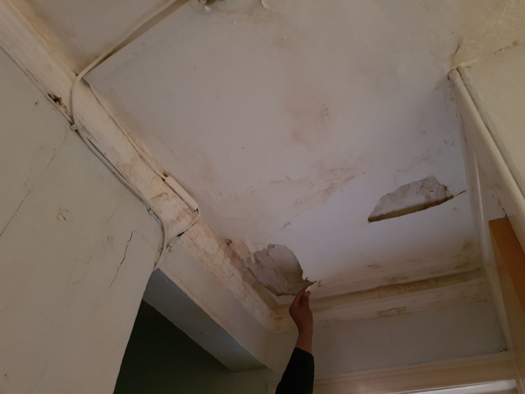 Ceiling in a UK refugee accommodation centre