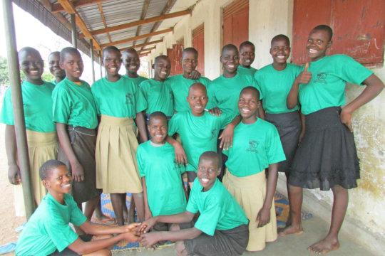 Happy 6th Grade Girls Boarding at Agwata School