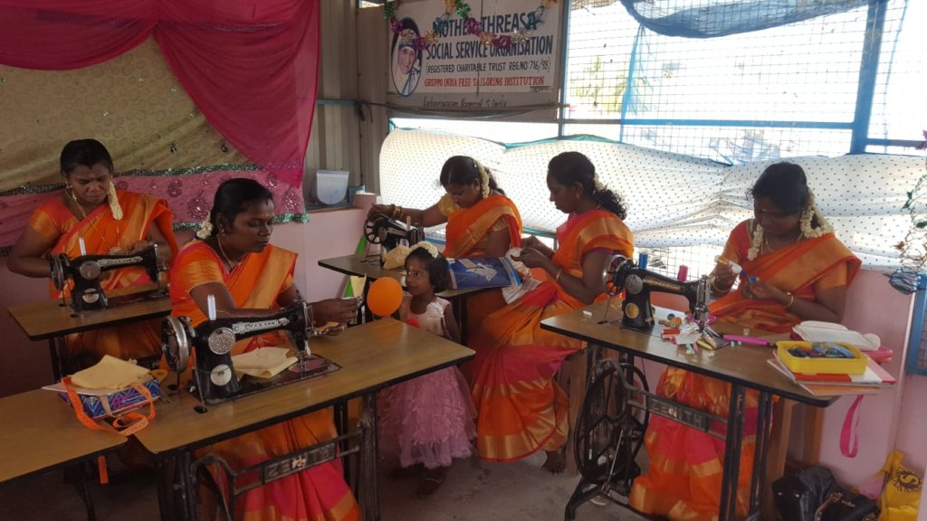 Women attending the sewing course