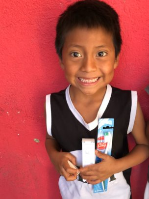 Diego with his new toothbrush! Yay for oral health