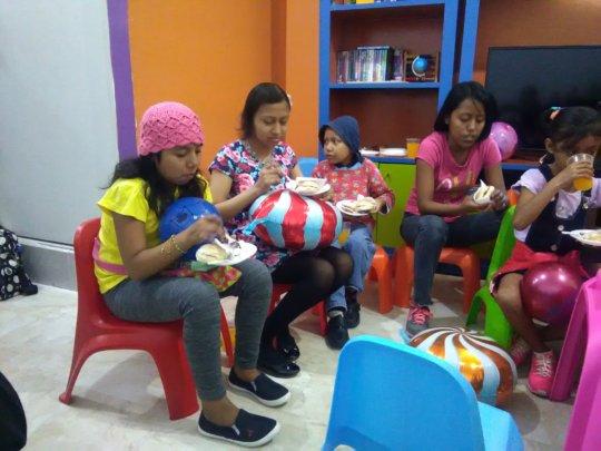 Girls eating their cake