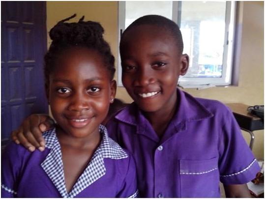 Josephine in school with Kelvin