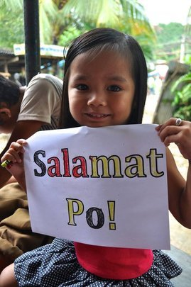 """On behalf of Evelyn, """"Salamat Po"""" (or Thank You)"""