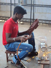 Ravichandran practicing welding during his course