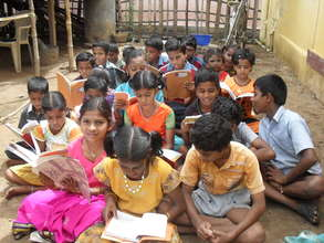 An informal education class in the slum