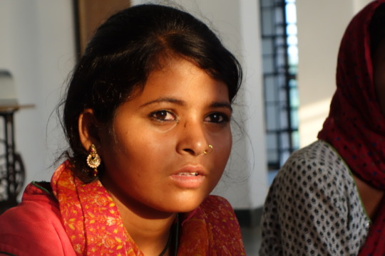Tribal girl discussing