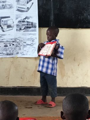 Pupil demonstrating English sentences he's learned
