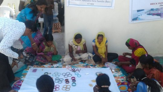 Bangle making for the children in this project