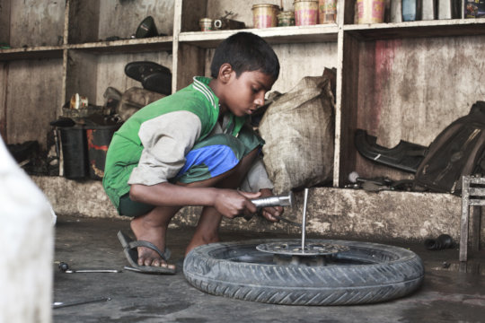 Young child at work