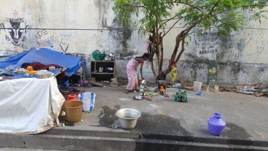 Women living in the street of Puducherry