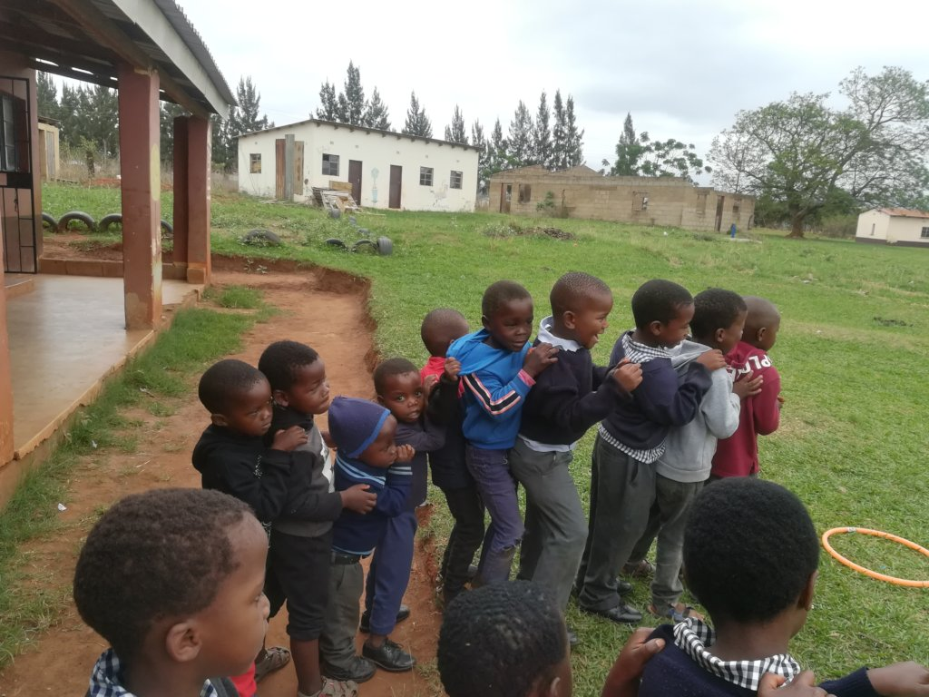 NCP children Lining up for Lunch