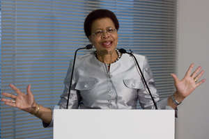 Graca Machel speaking at a Johannesburg conference