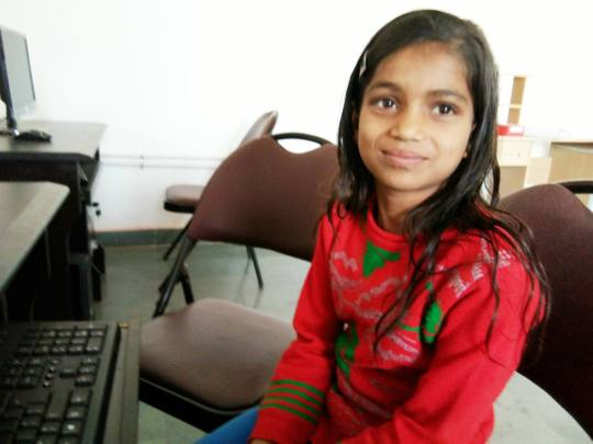 Khushboo is learning to use computers