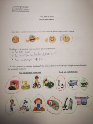 Activity for the children to work at home