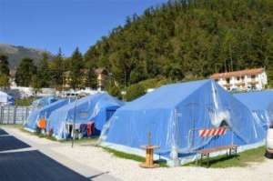 The tents for the people affected by the eartquake
