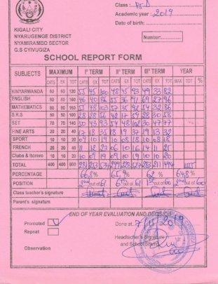 Aimee's Amazing Report Card