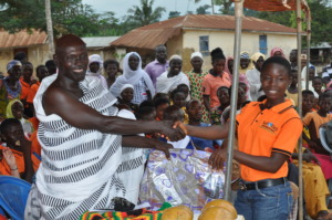Village chief rewards girls who earn top grades