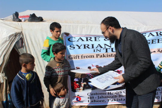 Relief goods from CHCS being distributed in Turkey