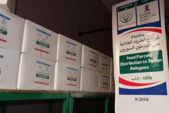 Food parcels distribution inside Syrian City Idlib