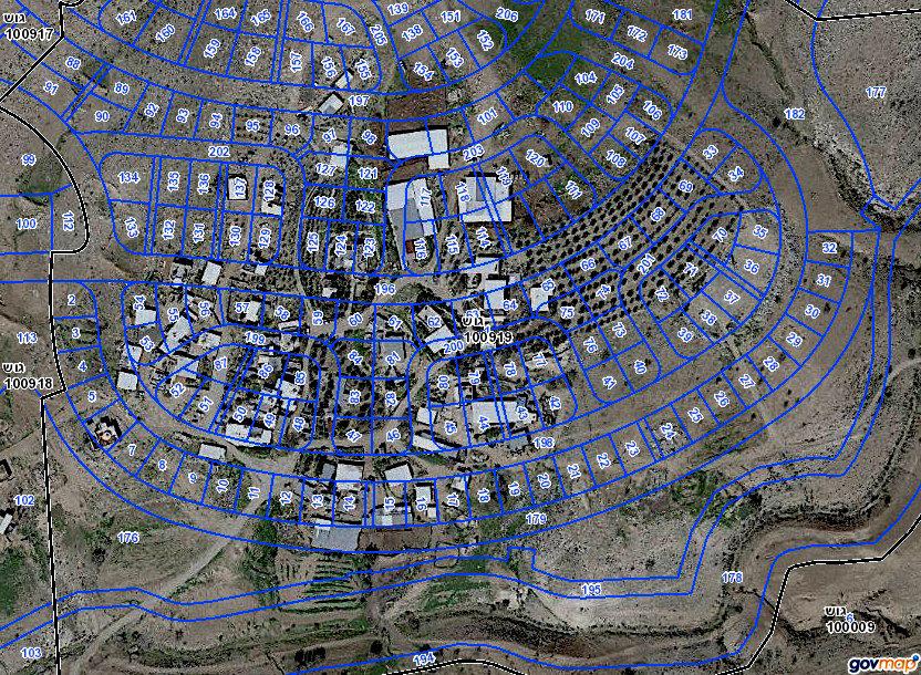 Map illustrating  planned Jewish town of Hiran