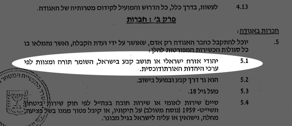 Hiran bylaws say residents must be Orthodox Jews