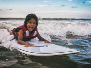 Surfing with our special needs club