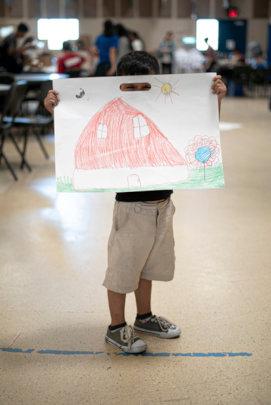 5 yr old asylum seeker drew his house in Guatemala