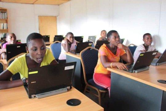 Older girls having Computer training