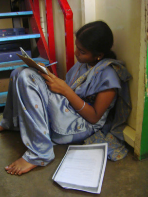 Sandhya studying for herexams
