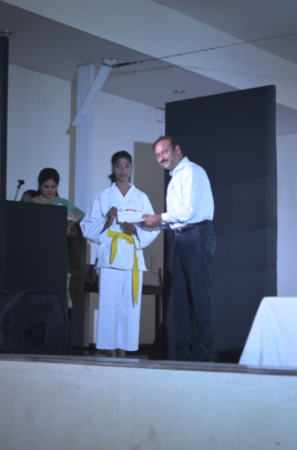 Felicitating students on annual day