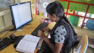 Using computers for her project work