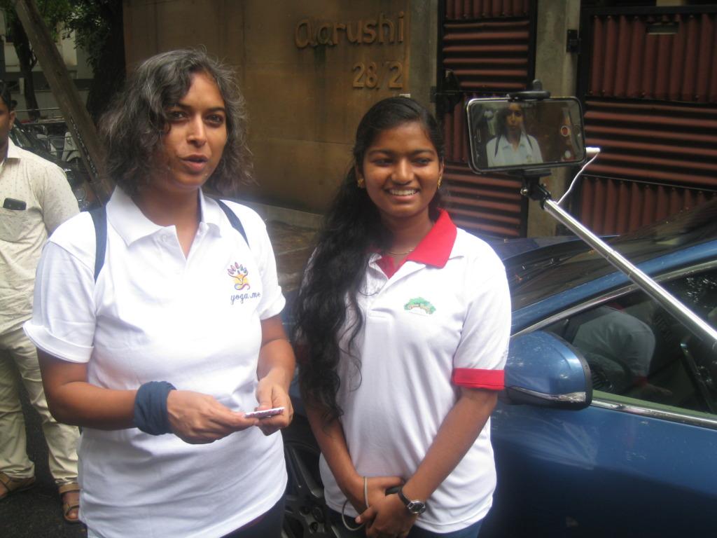 Sandhya  taking part in a marathon