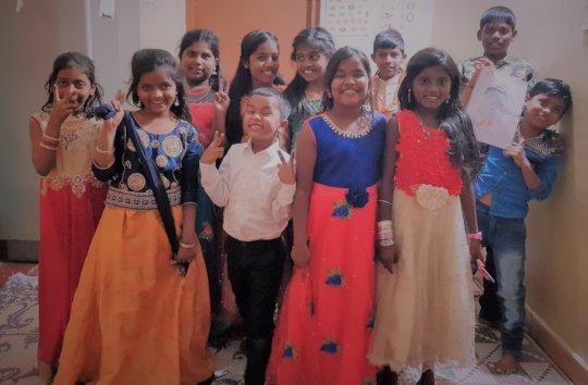 Children dressed for Pongal festival