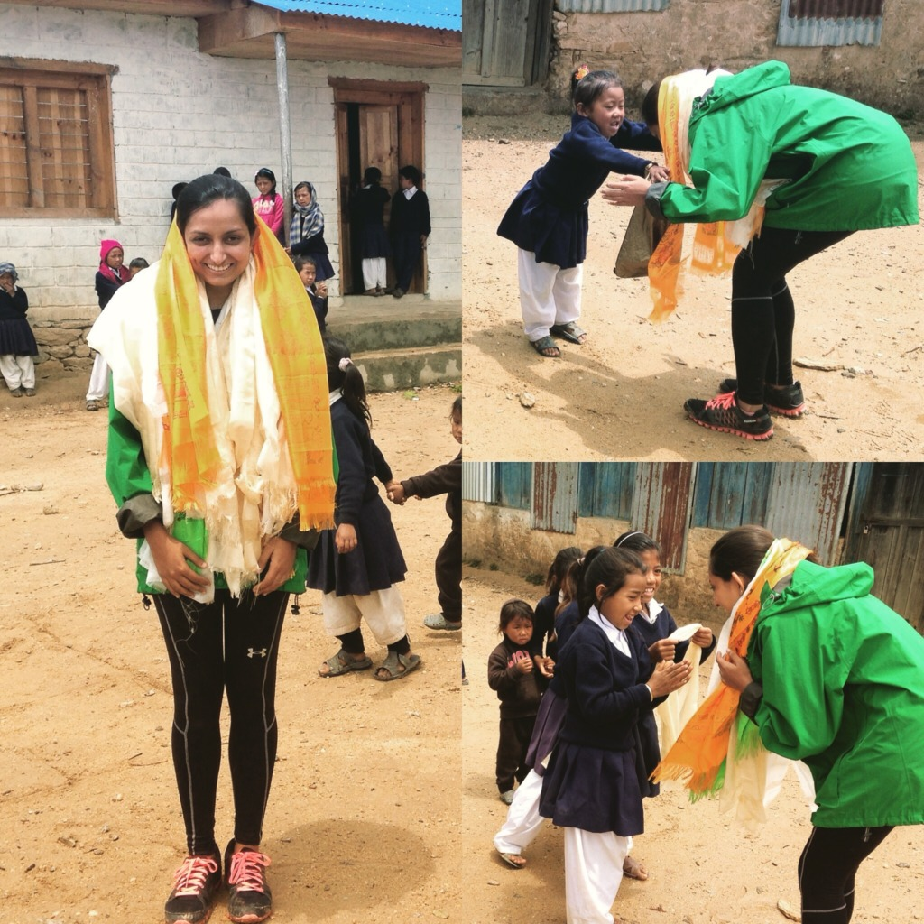 Khada is the traditional Nepali thank you gesture