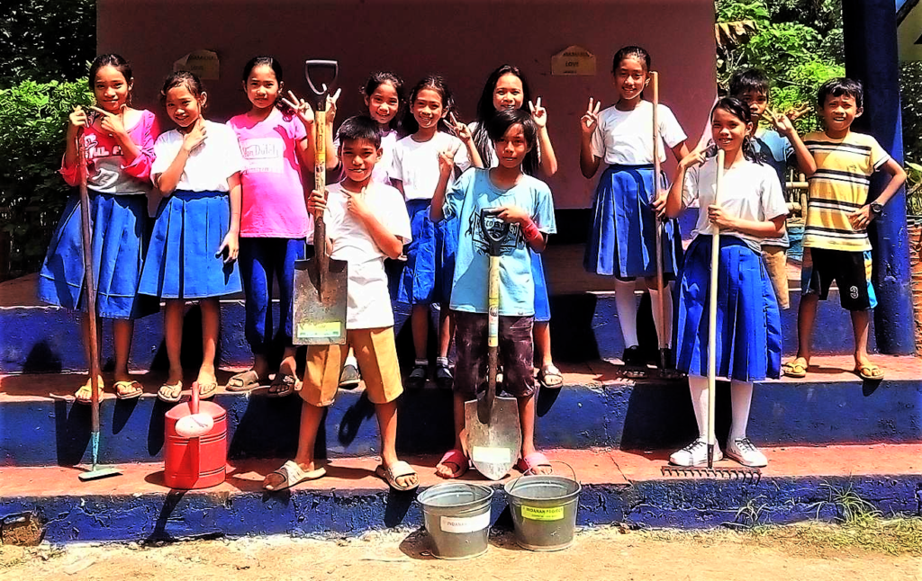 Students Preparing their New School Garden