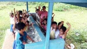 happy hand washers in rural school