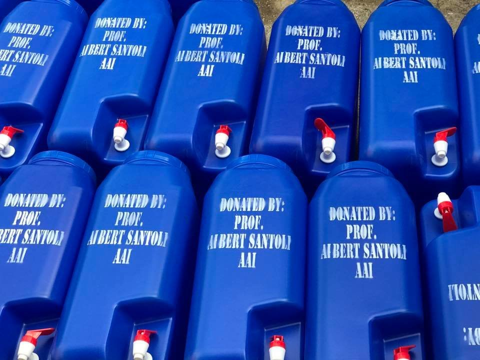 AAI water containers purchased with GG donations