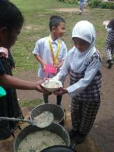 Pot of soup made with clean water at Sahaya ES